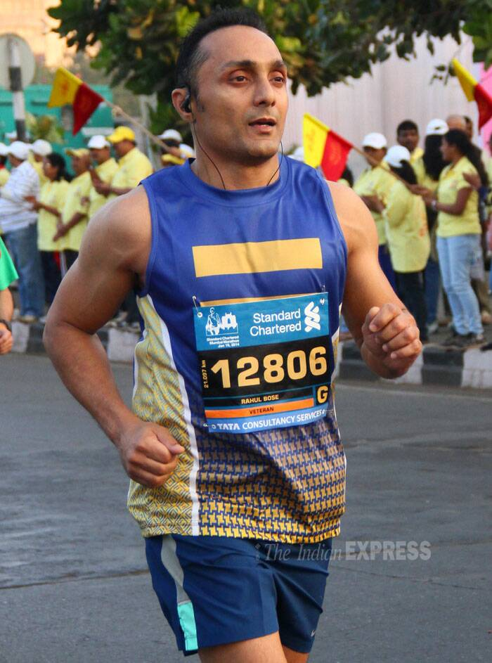 Sports lover and actor Rahul Bose ran in the Mumbai Marathon organised by a banking company in Mumbai on Sunday. (IE Photo: Amit Chakravarty).