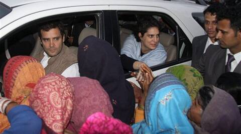 Congress Vice President Rahul Gandhi with sister Priyanka Vadra meeting supporters during their visit to Amethi. (PTI)