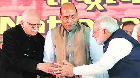 L K Advani, Rajnath Singh, Narendra Modi at the BJP National Council meeting in Delhi on Sunday.Amit Mehra