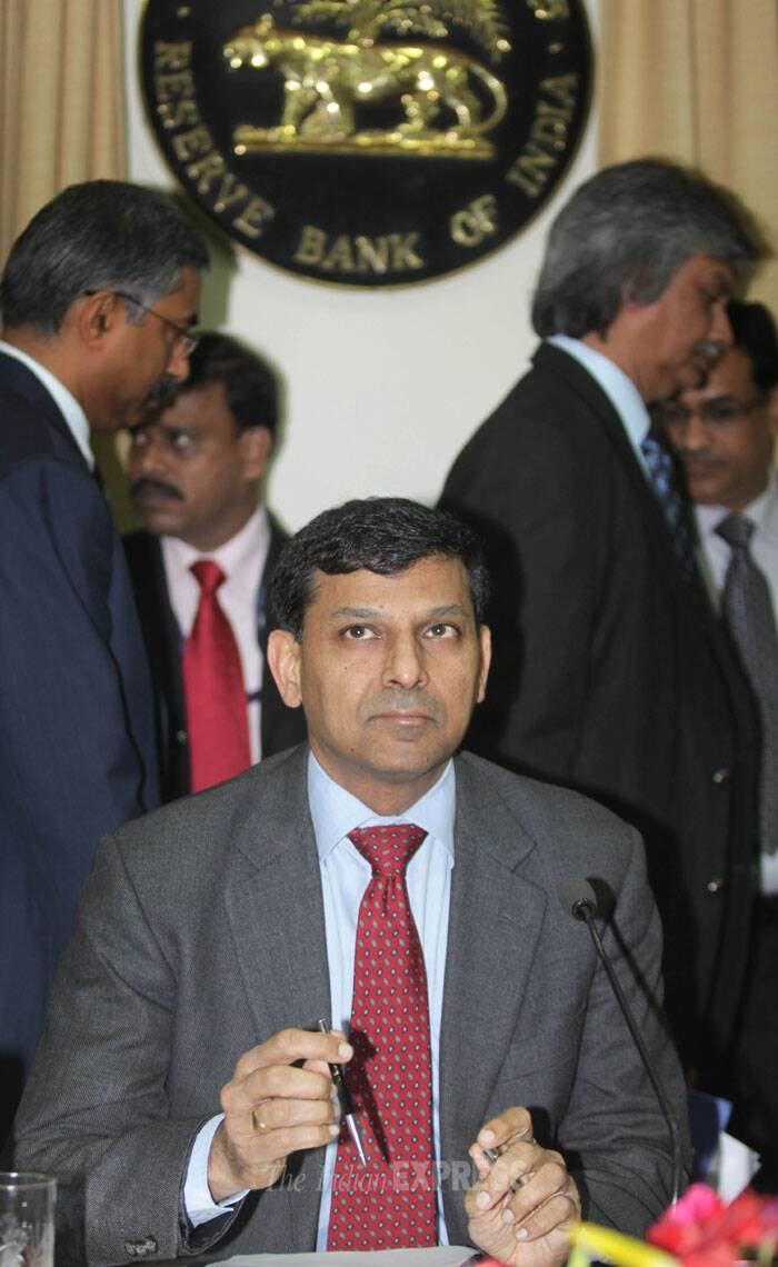 """We should be able to reach the 8 per cent objective (on consumer price inflation) by the end of the year with this rate hike, which in turn will aid sustainable growth in the long term,"" Rajan told reporters at the customary post-policy interaction. (IE Photo: Ganesh Shirsekar)"