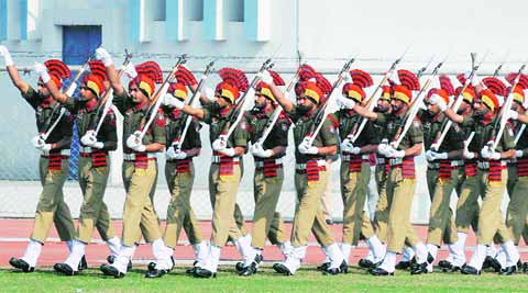During the dress rehearsal for the Republic Day Parade in Ludhiana on Friday. (IE Photo:Gurmeet Singh)