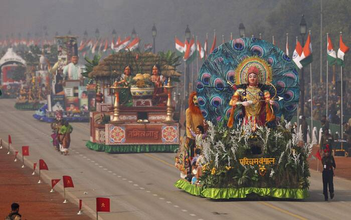 Floats of different Indian states roll down Rajpath during the Republic Day parade in New Delhi. (AP)