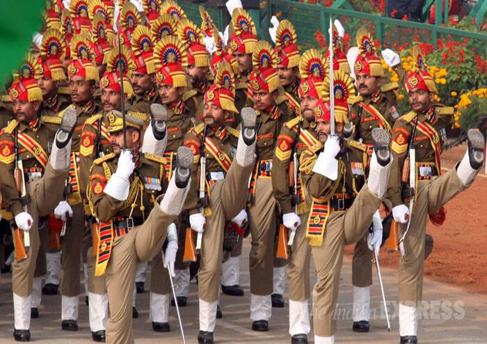 Other marching regiments comprises Rajputana Rifles, Mahar Regiment, Jammu and Kashmir Light Infantry Regiment, 9 Gorkha Rifles and 103 Infantry Battalion. (IE Photo: Prem Nath Pandey)