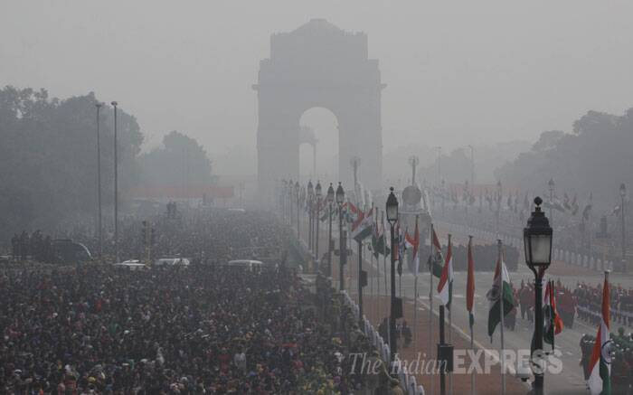 Colourful images of India's cultural heritage, manoeuvres by fighter aircraft, military prowess and march past by armed forces were on majestic display at Rajpath on Sunday as the nation celebrated its 65th Republic Day amid tight security. (IE Photo: Amit Mehra)