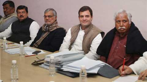 Congress Vice President Rahul Gandhi at a meeting with Screening Committee of the party at AICC headquarters in New Delhi on Friday.