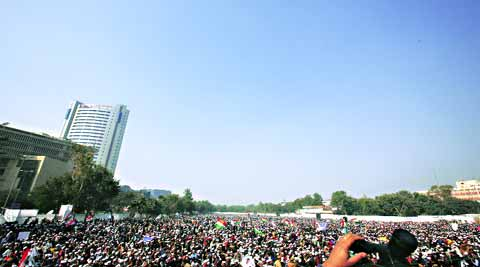 Thousands had gathered at Ramlila Maidan on December 28 to watch Kejriwal take oath as Delhi's Chief Minister. (Photo: Express archive)