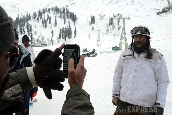 While rest of the crew led by film's director Kabir Khan arrived in Kashmir valley last week, Saif Ali Khan joined them in Gulmarg on Thursday. (IE Photo: Shuaib Masoodi)