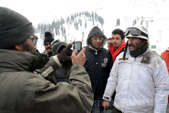 The snow-bound famous ski resort of Gulmarg in north Kashmir was agog with activity on January 16 as Sajid Nadiadwala's upcoming action-thriller 'Phantom', starring Saif Ali Khan and Katrina Kaif, commenced shooting near the resort. (IE Photo: Shuaib Masoodi)