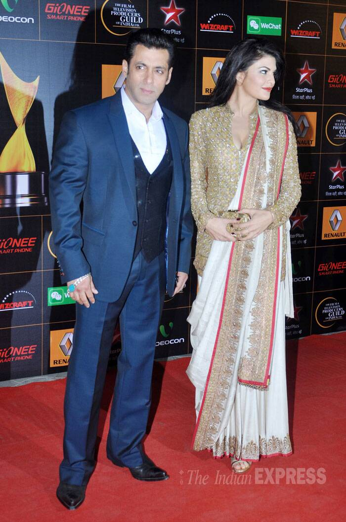 Salman Khan with his 'Kick' co-star Jacqueline on the red carpet. (Photo: Varinder Chawla) s