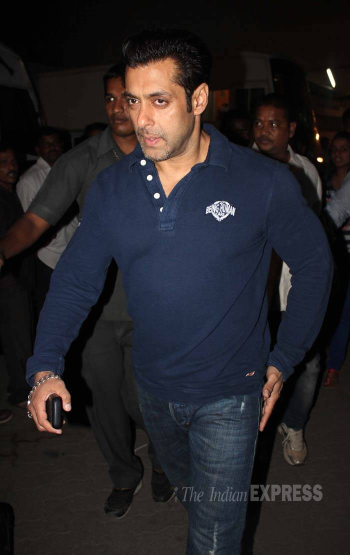 Former beau Salman Khan was also spotted in a navy blue T shirt and denims. (Photo: Varinder Chawla)