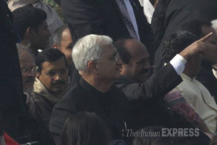 Among others who witnessed the parade at Rajpath was Delhi Chief Minister Arvind Kejriwal. <br /> Also seen here External affairs Minister Salman Khurshid. (IE Photo: Amit Mehra)
