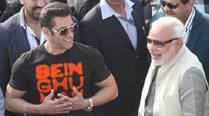 Actor Salman Khan with Gujarat Chief Minister Narendra Modi at the International Kite Festival in Ahmedabad on Tuesday. (IE Photo: Javed Raja)