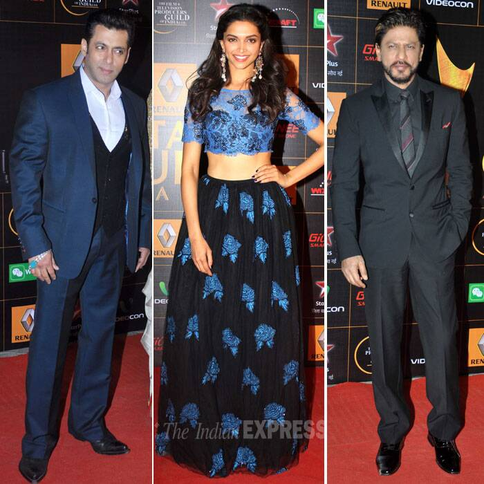 Bollywood superstars Salman and Shah Rukh Khan, who had recently hugged each other at an iftaar party last year, walked the red carpet at the Star Guild Awards 2014 held in Mumbai on Thursday night. It was for the first time that the two stars were seen at any award show after their in famous fight in 2008 at Katrina Kaif's birthday party. Also seen at the red carpet were Deepika Padukone, Kareena Kapoor, Sonakshi Sinha, Ranveer Singh, Shahid Kapoor and Arjun Kapoor. A look at who else made it to the award show. (Photo: Varinder Chawla)