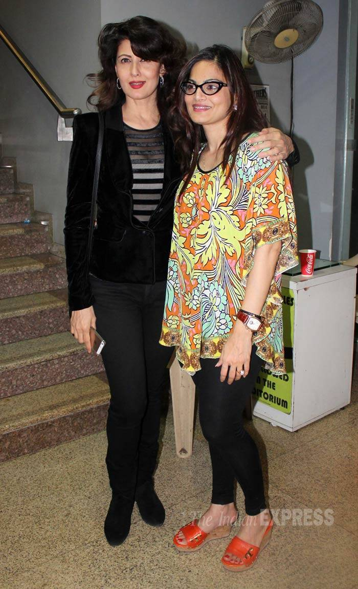Salman Khan's elder sister Alvira poses with her good friend and brother's ex-girlfriend Sangeeta Bijlani for the photogs. (Photo: Varinder Chawla)