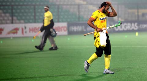 Sardar Singh during a practice session (IE Photo Ravi Kanojia)