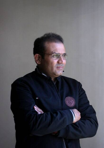 Virender Sehwag takes guard for his second innings
