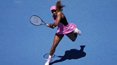 Serena Williams of the U.S. hits a return to Daniela Hantuchova of Slovakia during their women's singles match at the Australian Open 2014 (Reuters)