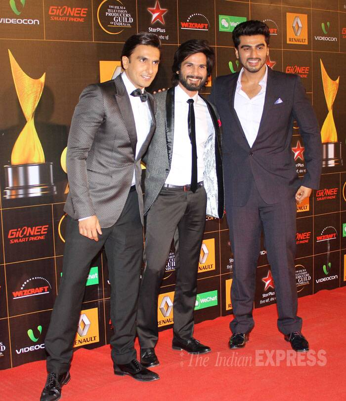 Three's company: Bollywood hunks Arjun, Shahid and Ranveer. (Photo: Varinder Chawla)