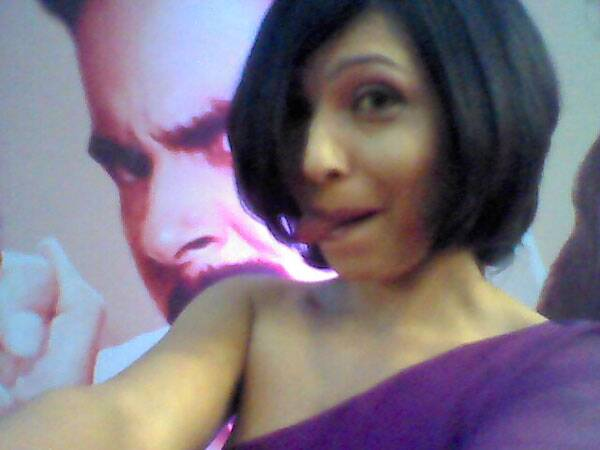 Shilpa Shukla,  winner of Best Actress in a Negative Role, does a selfie for the Life Ok Screen Awards.