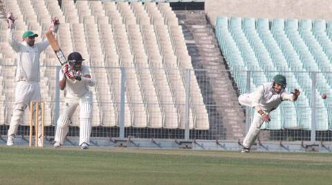 Laxmi Ratan Shukla notched up his half-century in 52 balls (IE Photo Partha Paul)