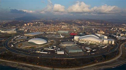 An aerial view from a helicopter shows the Olympic Park under construction in the Adler district of the Black Sea resort city of Sochi (Reuters / Maxim Shemetov)