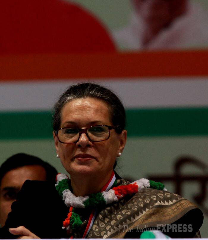 """Congress has faced many difficult times in the past, much tougher than today, but we have never lost heart,"" she said signalling that the party was battle ready for the 2014 Lok Sabha elections. (IE Photo: Renuka Puri)"