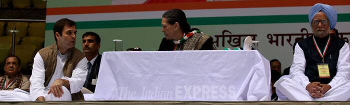 "Apparently referring to the recent drubbing in the Assembly polls, she said there might be ""some shortcomings"" in meeting the hopes and expectations of the common people and requested all to ""be a little soft"" towards her party in view of the slew of programmes and policies implemented by the UPA government. (IE Photo: Renuka Puri)"