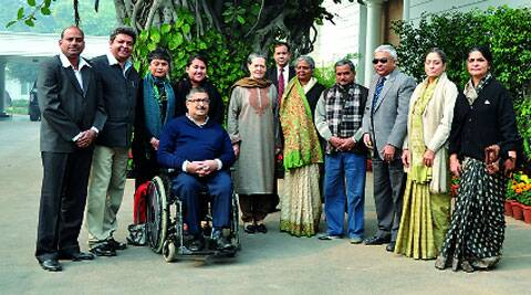 Members of rights groups with Sonia Gandhi on Thursday.