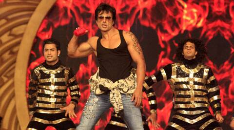 Sood today made a dramatic entry at the 20th Annual Life OK Screen Awards with a bike action stunt.