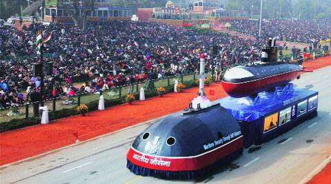 The Navy tableau with the nuclear-submarine and K-15 missile models on Rajpath, Sunday. PTI