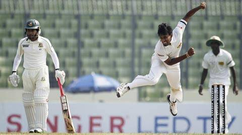 Suranga Lakmal claimed three wickets on the opening day of the first Bangladesh-Sri Lanka Test match (Reuters)