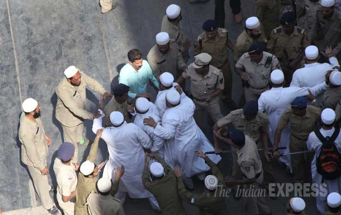The incident occurred as a huge crowd gathered at the residence of Syedna, who had died yesterday aged 102 after a cardic arrest.