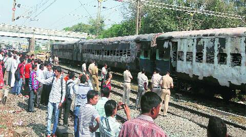 The burnt coaches of Bandra-Dehradun Express parked at Dahanu Road station, in Thane district, on Wednesday. Deepak Joshi