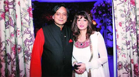 Shashi Tharoor with wife Sunanda Pushkar. (Photo: Express Archive)