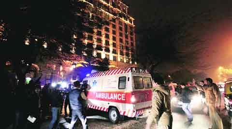 An ambulance at the Leela Palace in New Delhi on Friday night, soon after Sunanda was found dead. Ravi Kanojia