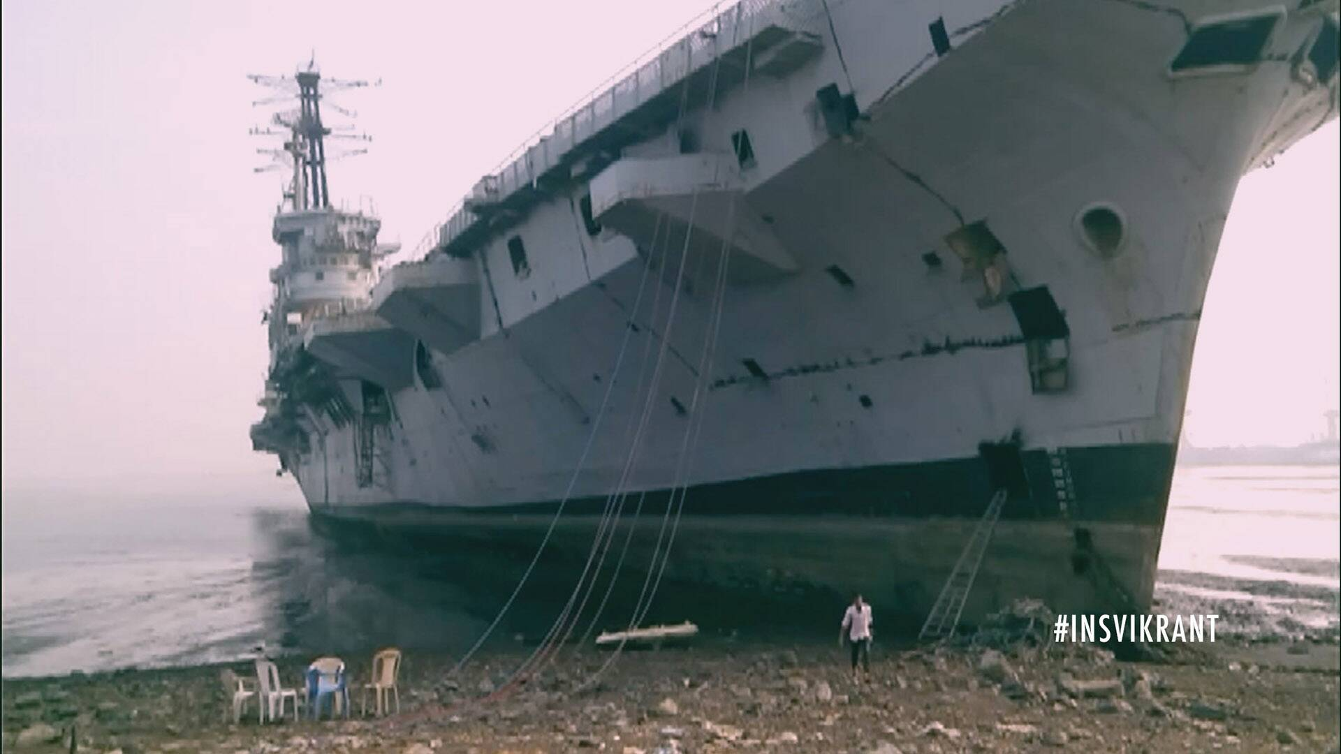 India's first aircraft carrier INS Vikrant being broken up