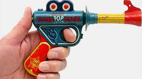 """The boy went into the bank last week brandishing a fake gun and shouted """"Hold-up!""""."""
