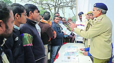 At an awareness drive at ISBT in Sector 43, Chandigarh, on Tuesday. (IE Photo: Kshitij Mohan)