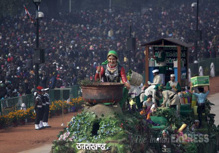 A float of  Uttarakhand during the Republic Day parade. (IE Photo: Amit Mehra)