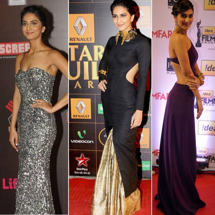 <b>Vaani Kapoor</b>: Another actress who showcased a Nikhil Thampi gown was none other than newcomer Vaani Kapoor. The 'Shuddh Desi Romance' actress was edgy in black cutout gown with a gold bottom. She added to her look with smokey eyes and Manish Arora for Amrapali jewellery.