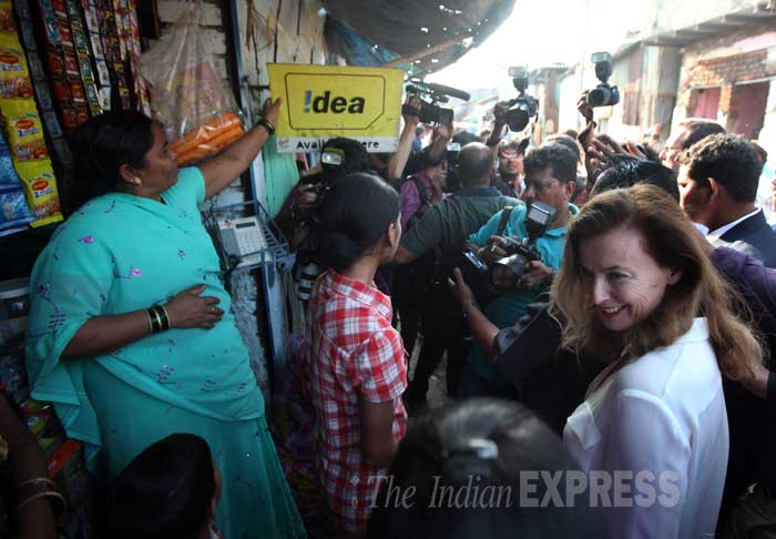 Valerie Trierweiler has said that she is on good terms with President Hollande after their breakup. <br /><br /> Seen here at the slums. (IE Photo: Pradip Das)