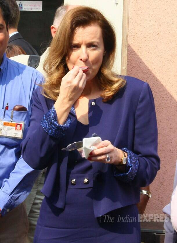 French First Lady Valerie Trierweiler arrives in Mumbai