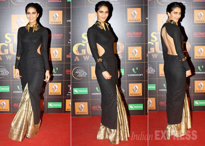 Shuddh Desi Romance actress Vaani Kapoor brings the sexy back in a black and golden Nikhil Thampi gown. (Photo: Varinder Chawla)