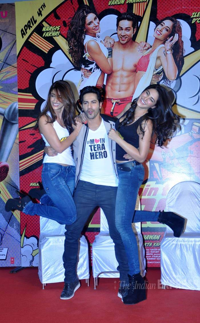 Meanwhile 'Student of the Year' actor Varun Dhawan was having a ball with his onscreen love interests Nargis Fakhri and Ileana D'Cruz at the first dekho of their upcoming comedy 'Main Tera Hero'. (Photo: Varinder Chawla)