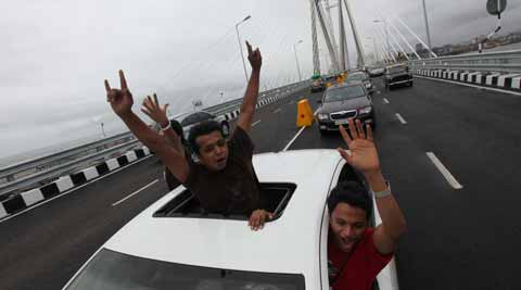Normal Traffic started on the Bandra-Worli sea link as major traffic turned for the free drive on the flyover on Wednesday.  Express photo by Ashish Shankar