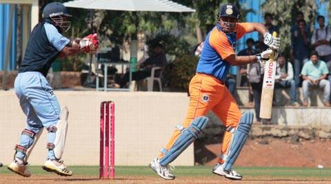 Virender Sehwag in action during his match against Mumbai Customs in a Group-B match of the Rs12 lakhs prize-money 10th All India Dr. D.Y. Patil T20 Cup at the D.Y. Patil stadium, Nerul on Wednesday evening (IE Photo)