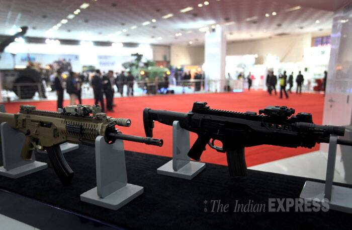 Beretta's ARX 160 assault rifle that is under trials with the Indian Army on display at the Defexpo India 2014 in New Delhi on Thursday. (IE Photo: Oinam Anand)