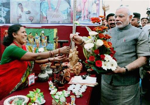 Modi at an exhibition
