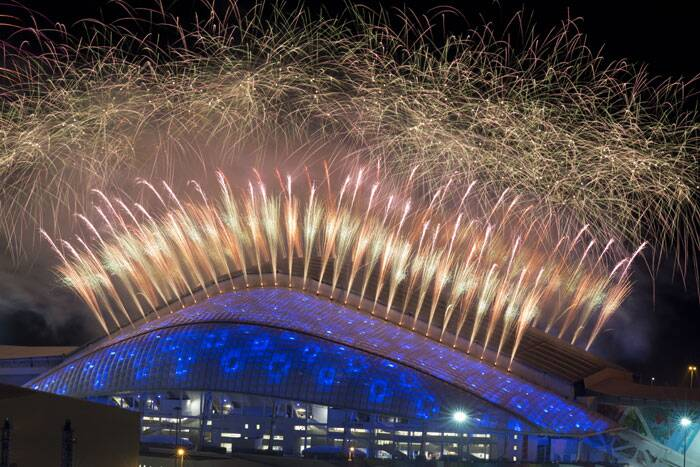 A Russia in search of global vindication kicked off the Sochi Olympics looking more  like a Russia that likes to party, with a pulse-raising opening ceremony about fun and sports instead of terrorism, gay rights and coddling despots. <br /> Fireworks explode over Fisht Olympic Stadium at the end of the opening ceremony for the 2014 Winter Olympics in Sochi, Russia on Friday. (AP)