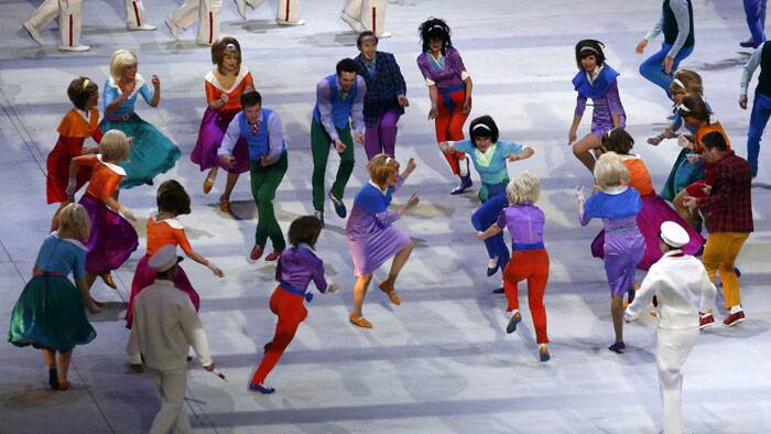 Dancers perform during the opening ceremony of the 2014 Winter Olympics in Sochi. (AP)